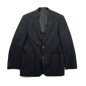 John Varvatos Men's Blue Plaid 100% Wool Blazer